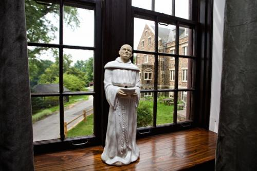 Statue of St. DominicView from south window of community room where St. Dominic stands.